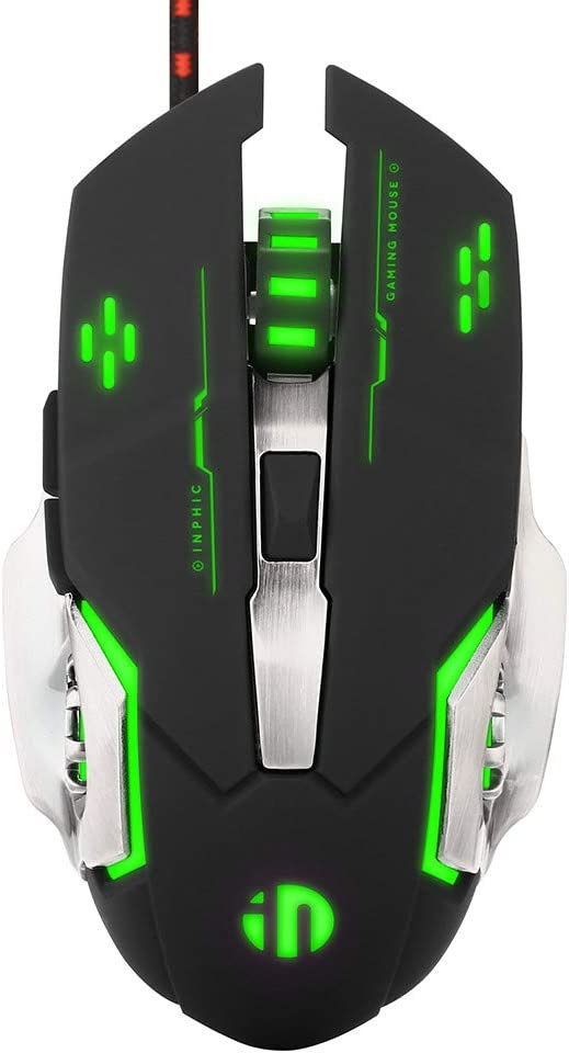 Silent Click Mouse, Inphic Wired Gaming Mouse with 6 Macro Programmable Buttons, USB Optical PC Laptop Computer Ergonomic Quiet Mice, 4800DPI, 7 RGB Breathing LED Backlit (Black)