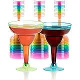 Set of 36 Plastic Margarita Glasses - 12 OZ Disposable Neon Cocktail Cups