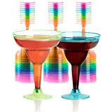 Set of 36 Plastic Margarita Glasses - 12 OZ Disposable Neon Cocktail Cups