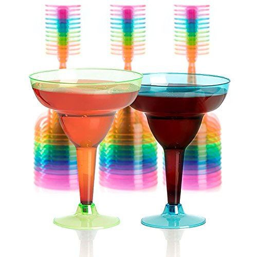 Set of 36 Plastic Margarita Glasses - 12 OZ Disposable Neon Cocktail Cups ()