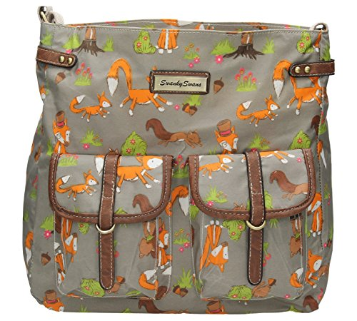 SwankySwans, Borsa a tracolla donna Large Grigio