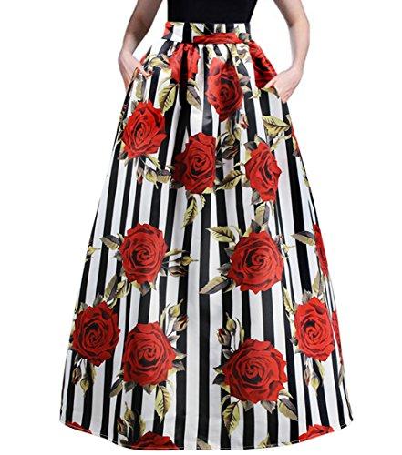 RARITY-US Women's Beach Fashion Maxi Skirt With Pockets African Floral Glamorous Print Pleated High Waist Casual Boho (Floral Petites Print Skirt)