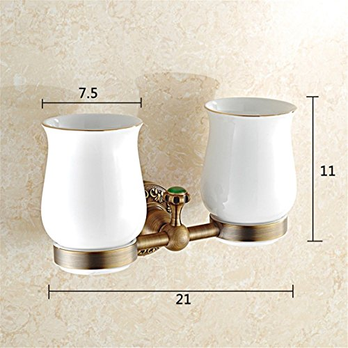 AiRobin-Continental Brass Antique Carved Green Diamond Decor Wall Mounted Toothbrush Cup Holder Bathroom Accessory