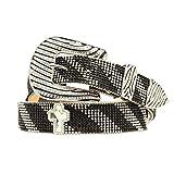 Nocona Women's Crystal Mesh Zebra Buckle Belt, Black, Silver, XL