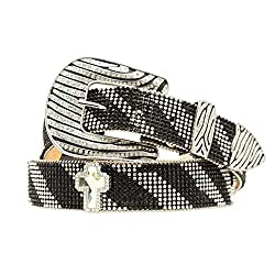 Zebra Cross Crystal Mesh Belt