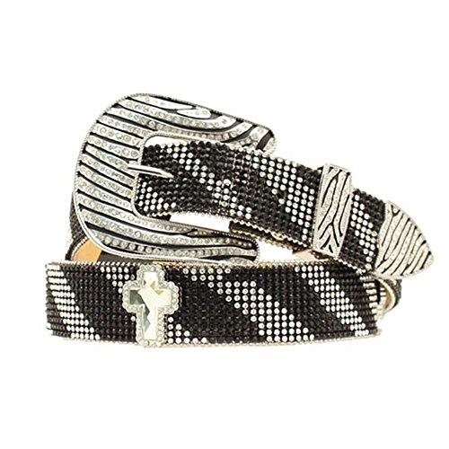 Nocona Women's Crystal Mesh Zebra Buckle Belt, Black, Silver, XL by Nocona Boots (Image #1)