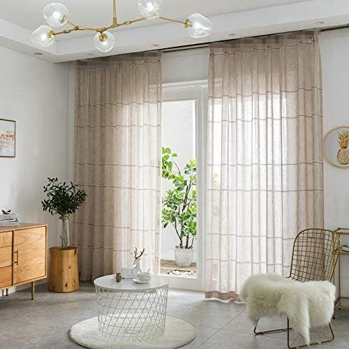 WINYY Elegante Cortina de Lino Gris Transparente para Ventana ...