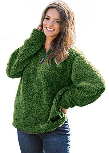 FOURSTEEDS Womens 1/4 Zip Fleece Sherpa Jacket Pebble Pile Fuzzy Unisex Sweatshirt Winter Coat Green 3XL ()