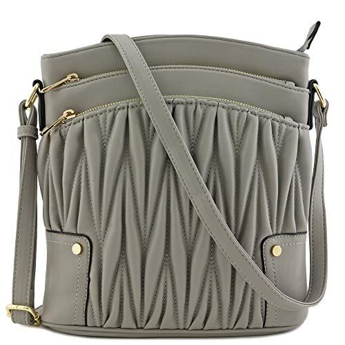 Triple Zip Pocket Large Crossbody Bag (Quilted Grey)