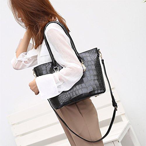 Cocodrilo Elegante Y Diagonal Black Simples Bolsos Nueva Atmósfera Bolsa De Del Rzl Bolso Hombro Las Mujeres Manera Señoras Patrón Cruzados La w1aABqxST