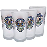 Culver Sugar Skulls Decorated Frosted Pint/Pub Beer Glasses, 16-Ounce, Set of 4