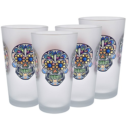 Frosted Pint Glass (Culver Sugar Skulls Decorated Frosted Pint/Pub Beer Glasses, 16-Ounce, Set of 4)