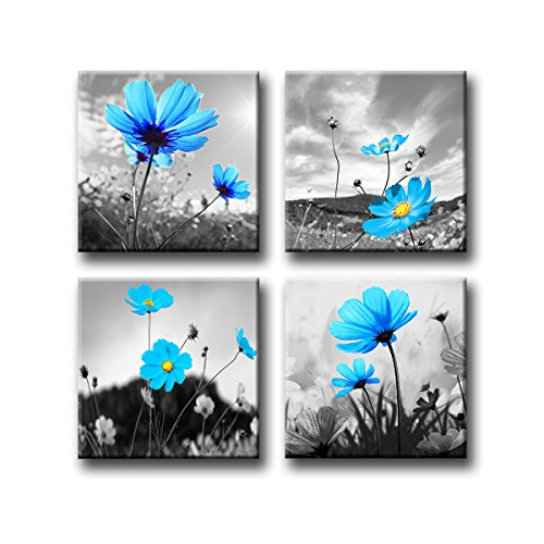 Cheap  Wall Art The Canvas Prints Blue and White Peacock Flowers Abstract Painting..
