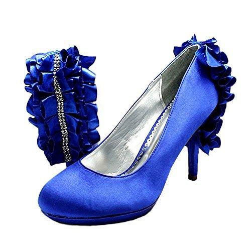 Retro Eleganti Donna Da Tacco Blu In Festa Raso Increspatura Alto Diamonte Scarpe 6zXdUzqw