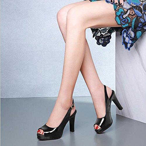Mujer Verano Negro Gruesos Moda Mujer Altos Zapatos Genuino De Tacones Cuero Nuevo Sandalias Hebillas Cinturón 6w6q7R