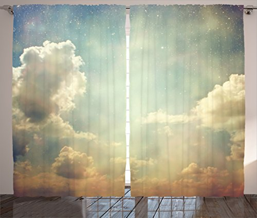 Ambesonne Vintage Decor Curtains, Magical Sky Looks Like Dream Space with Sun Rays Celestial Miracle Atmosphere Old Photo, Living Room Bedroom Decor, 2 Panel Set, 108 W X 90 L Inches, Blue White For Sale