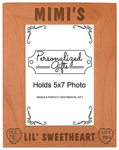 Mimi's Lil Sweetheart Baby Granddaughter Gift Natural Wood Engraved 5x7 Portrait Picture Frame Wood