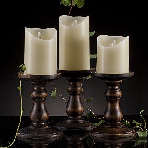 "Air Zuker Wood Pillar Candle Holders, Set of 3 Height 6"" Candlesticks, Compatible with Diameter 3.5"" Pillar Wax Candles or Flameless Candles like Luminara / Air Zuker Brand Candle Rustic Bronze Color"