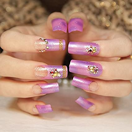 echiq morado rosa plata oro brillantes acrílico Beautiful Lady uñas postizas Tips