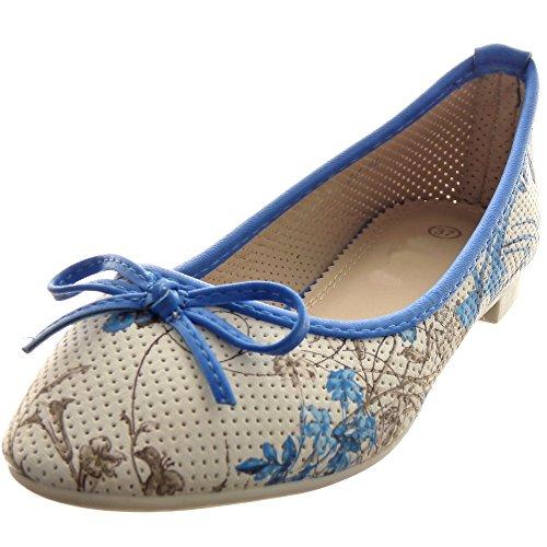 Sopily - damen Mode Schuhe Ballerina Dekollete fliege Blumen - Blau