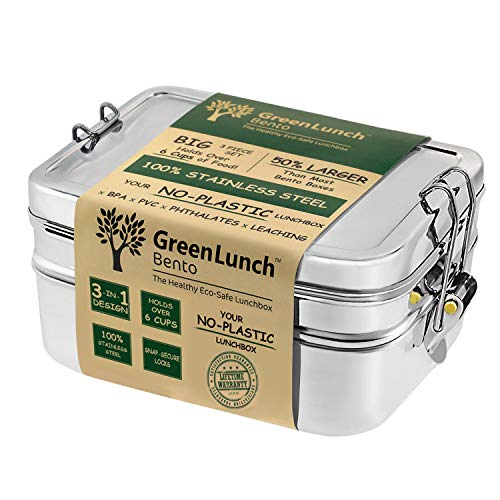 Stainless Steel 3-in-1 Bento Lunch Box with Pod Insert - Holds 6 Cups of Food - Eco-Safe, Healthy, Durable Lunch Container for Kids and Adults