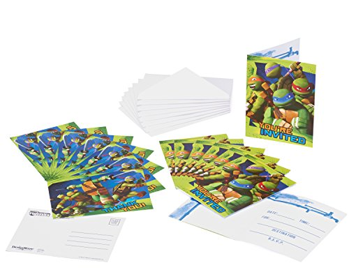 Teenage Mutant Ninja Turtles Invite and Thank You Combo, 8 Pack, Party Supplies -