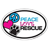 Imagine This Oval Peace Love Rescue Car Magnet 6-inch By 4-inch from Imagine This Company