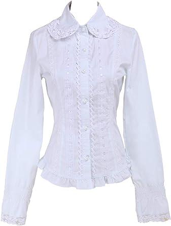 Blanca Algodón Volantes Encaje Classical Simple Victoriana Lolita Camisa Blusa de Mujer: Amazon.es: Ropa y accesorios