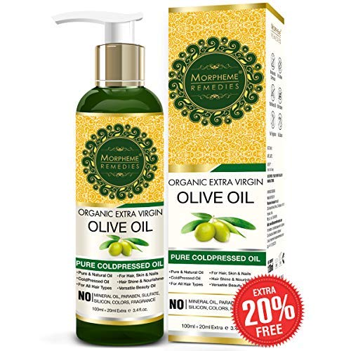 Morpheme Remedies Organic Extra Virgin Olive Oil Pure ColdPressed Oil for Hair & Skin - 120ml