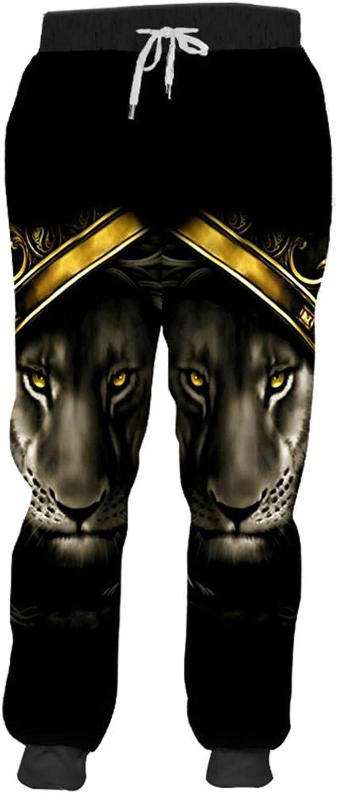 Sieclijkef Pantalones de chándal 3D con Estampado de león y ...