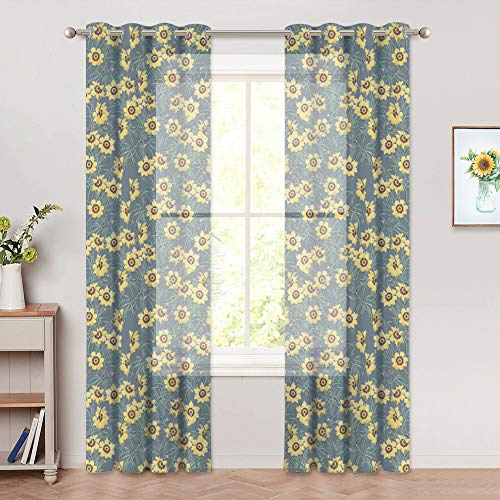 RYB HOME Sunflower Semi-Sheer Curtains, Faux Linen Textured Floral Voile Drapes Sunlight Shade Grommet Top Window Curtains Brighten Up Wall/Room Space, W 52 x L 84 inch, Soft Grey, 2 Panels