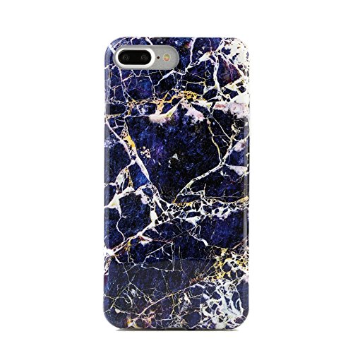Blue Gold Marble iPhone 7 PLUS Case by Velvet Caviar Protective Phone Cover (Midnight Gold Marble)