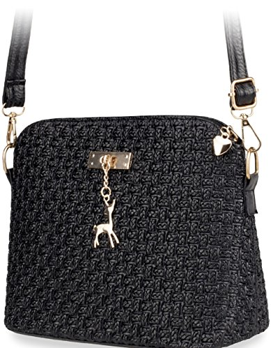 elegante Damentasche Flechtung – Optik wunderschöne Schultertasche schwarz