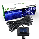 LE Solar Powered LED Fairy String Lights 100 LEDs 55ft/17m, Waterproof, Blue, Christmas Lights with Light Sensor, Ambiance Lighting, Outdoor and Indoor Use, Wedding, Party, Halloween Lights Decoration