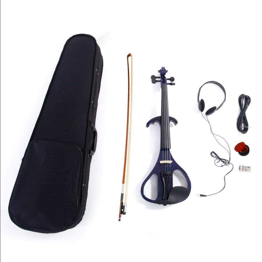 LJ1 4/4'' Basswood Electric Violin Case Rosin Head Set Bow Battery Connecting Line Purple by Aromzen (Image #6)