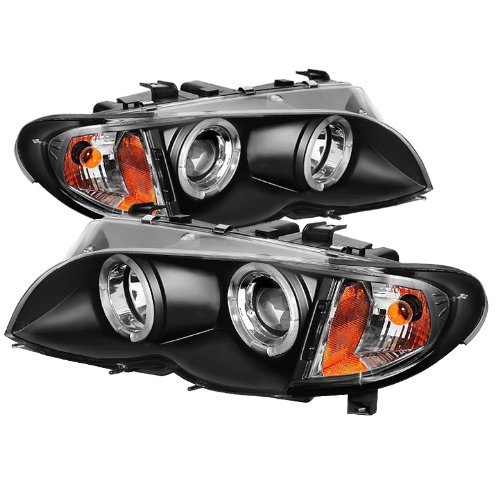 Spyder Auto PRO-YD-BMWE4602-4D-AM-BK BMW E46 3-Series 4-Door Black Halo Projector Headlight