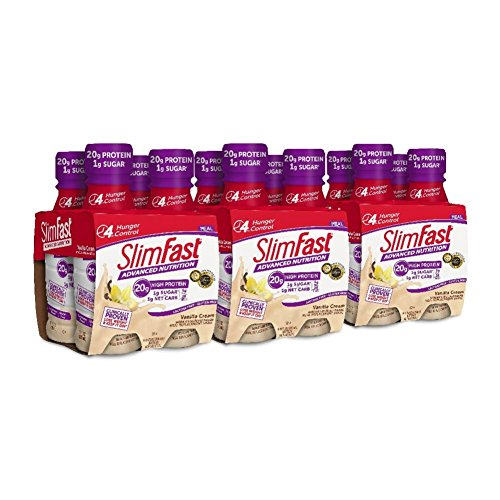 SlimFast Advanced Nutrition Vanilla Cream Shake - Ready to Drink Meal Replacement - 20g of Protein - 11 fl. oz. Bottle - 12 Count
