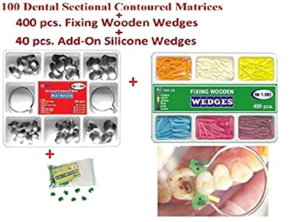 100 Dental Sectional Contoured Matrices Matrix Ring Delta 1 398 Tor VM + 40  Add-On Silicone Wedges + 400 Fixing Wooden Wedges