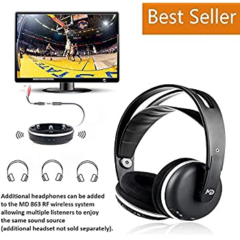 Wireless Universal TV Headphones, Monodeal Over-Ear Stereo RF Headphones With Charging Dock, LOW LATENCY Volume Adjustable For Gaming TV PC MOBILE, ...