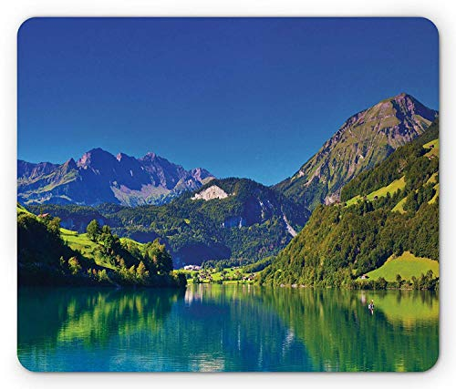 Landscape Mouse Pad, Swiss Alps Mountain and Meadow Forest with Tranquil Lake Also Small Old Village, Standard Size Rectangle Non-Slip Rubber Mousepad, Blue Green,8.66 x 7.08 x 0.118 Inches