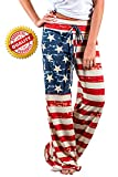 4th of July American USA Flag Womens Patriotic Pants Ladies Drawstring ...
