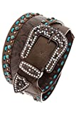 THE JEWEL RACK ORNATE FAUX STONE ACCENT LEATHER BELT (Brown)