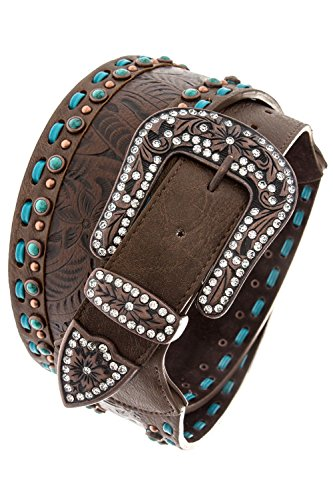 THE JEWEL RACK ORNATE FAUX STONE ACCENT LEATHER BELT (Brown) by The Jewel Rack