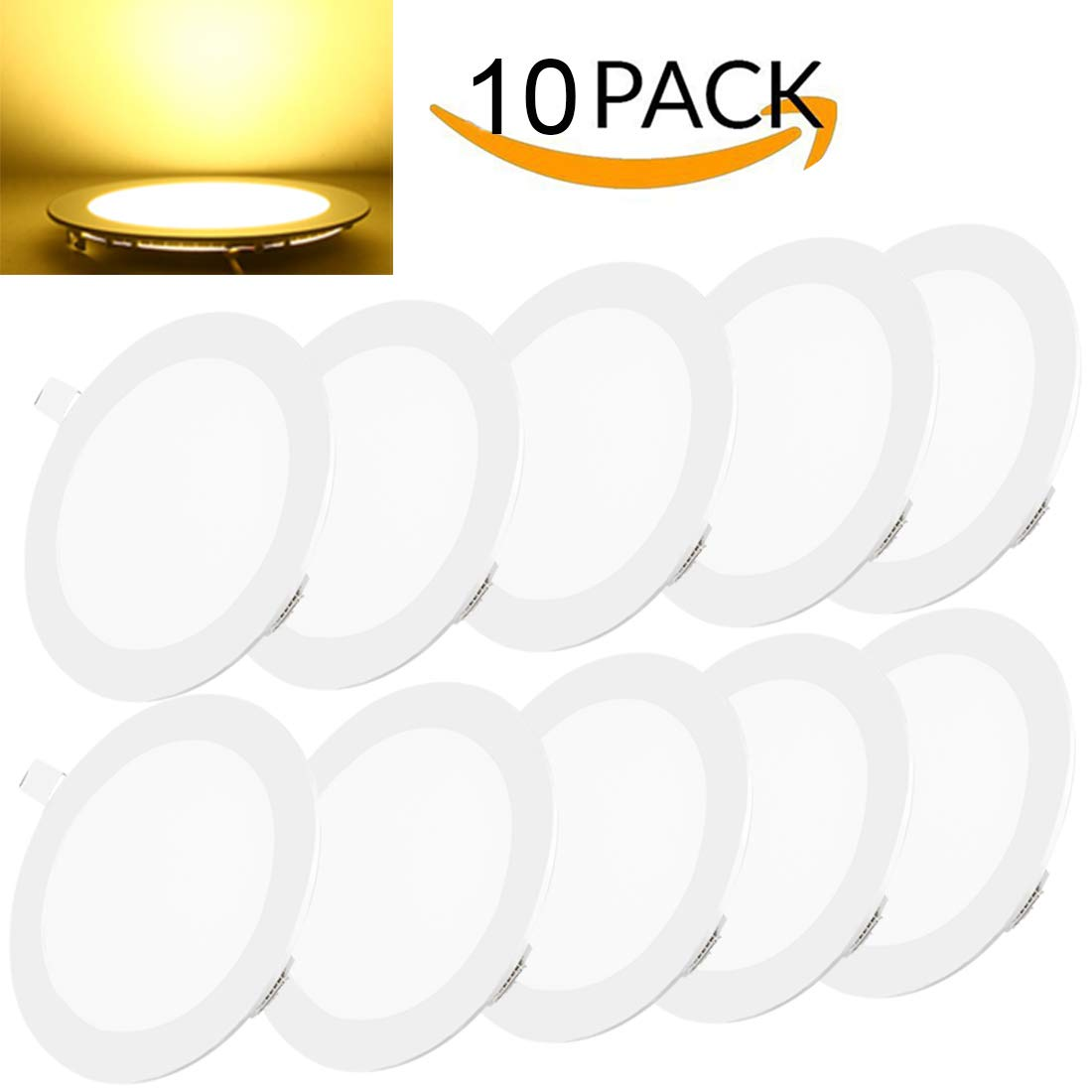 10pack LED Recessed Lighting Panels Light Ceiling 3W 3000k 180LM Ultra Slim Flat Recessed Light Fixtures for Bathroom Kitchen Dining Room Corridor Conference Room Office Gazebo Office Store