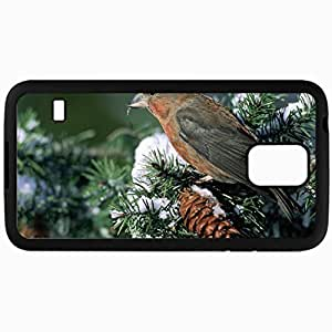 Fashion Unique Design Protective Cellphone Back Cover Case For Samsung GalaxyS5 Case Beautiful Birds Pine Tree Snow Bird Black