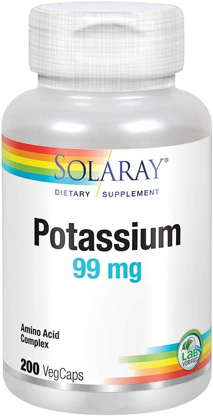 Solaray Potassium 99mg | Fluid & Electrolyte Balance Formula | Heart, Nerve & Muscle Function Support | 200ct: Health & Personal Care