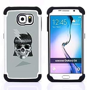 BullDog Case - FOR/Samsung Galaxy S6 G9200 / - / GIRL SKULL ELECTRIC METAL INK BIKER TATTOO /- H??brido Heavy Duty caja del tel??fono protector din??mico - silicona suave