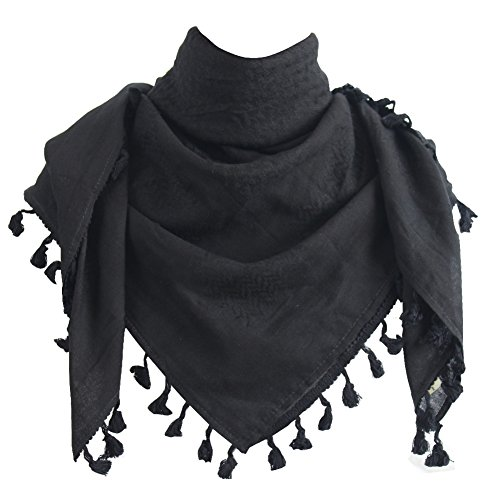 Explore Land 100% Cotton Military Shemagh Tactical Desert Keffiyeh Scarf Wrap (Pirate Black)
