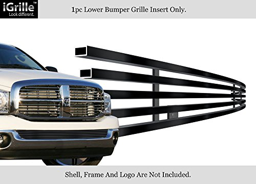 APS Stainless Steel 304 Black Billet Grille Grill Custome Compatible with 02-08 Dodge Ram Without Tow Hood Bumper ()