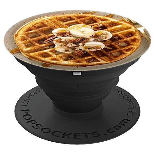 Pedestal Pecan (Breakfast Waffles with Pecans, Bananas and Syrup Foodie - PopSockets Grip and Stand for Phones and Tablets)